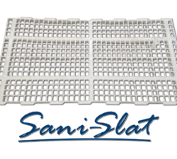 Sani Slat Poultry Plastic Flooring with logo